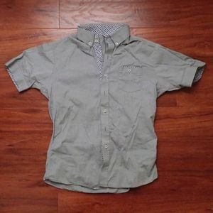 Mens button front short sleeve